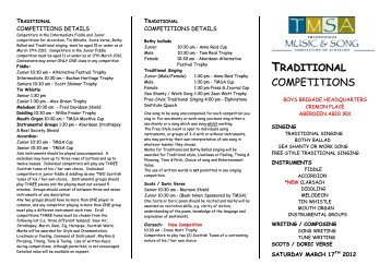 COMPETITIONS - Traditional Music and Song Association of Scotland
