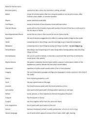 Notes for literary terms Narrative poetry poetry that tells a story, has ...