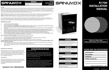 R1700 INSTALLATION MANUAL - Sanuvox