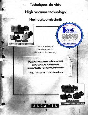 alcatel adixen 2033 2063 users instruction manual ideal vacuum rh yumpu com alcatel 2063 sd manual Alcatel Flip Owner's Manual