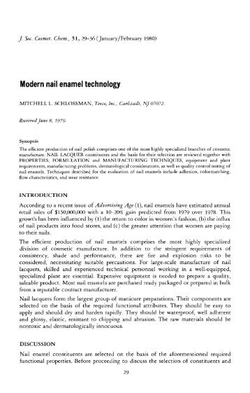 Modern nail enamel technology - Society of Cosmetic Chemists