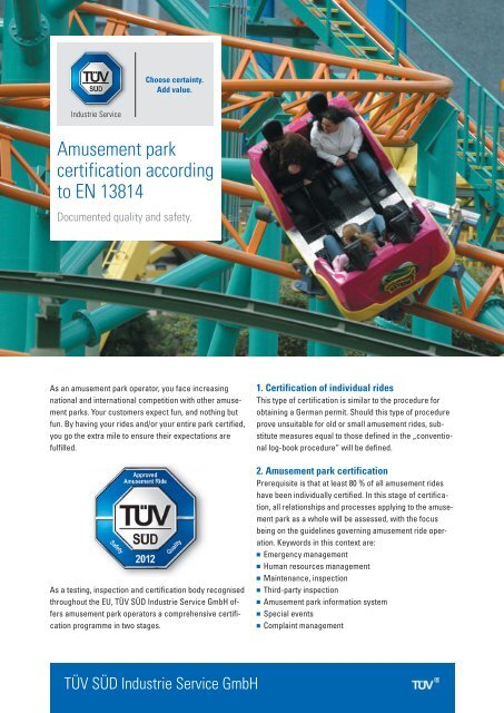 Amusement park certification according to EN 13814 - TÜV Süd