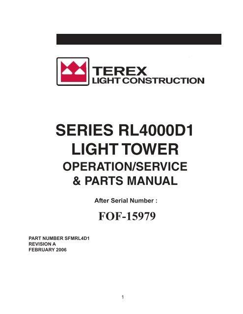 RL4000D1 Light Tower - Operational Manual - Light Towers USA