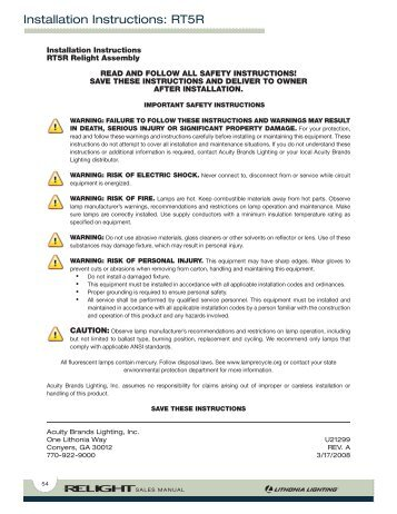 Installation Instructions Rt5r Lithonia Lighting Acuity Brands
