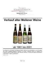 Verkauf alter Meilener Weine V2011-07-20