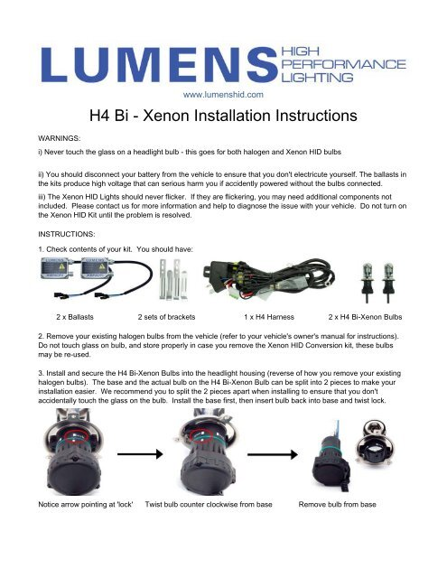 H4 Bi - Xenon Installation Instructions - Lumens High