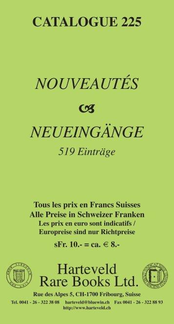 NOUVEAUTÉS  NEUEINGÄNGE - Harteveld Rare Books Ltd.
