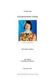 ELIZABETH HONEY PAPERS - University of Canberra