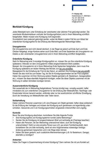 Merkblatt Kündigung Und Vorlage Kündigungsschreiben F Partner