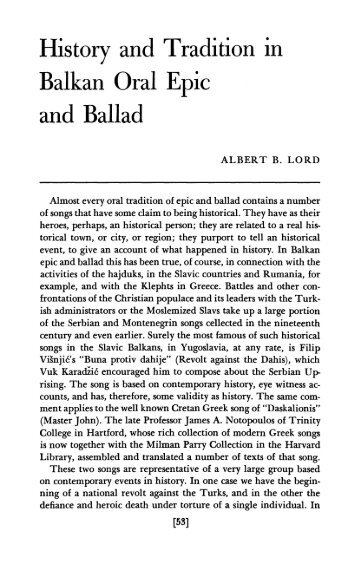 history and tradition in oral epic and ballad - Marshalls University