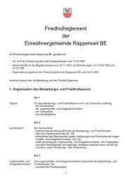 Friedhofreglement der Einwohnergemeinde Rapperswil BE