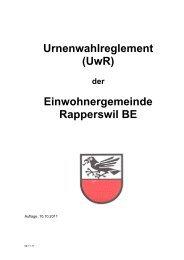 Urnenwahlreglement (UwR) Einwohnergemeinde Rapperswil BE