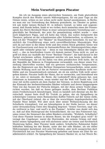 Mein Vorurteil gegen Piscator - Welcker-online.de