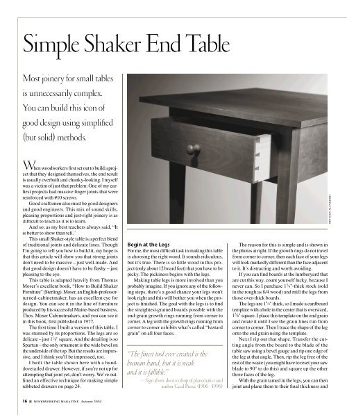Simple Shaker End Table - Popular Woodworking Magazine