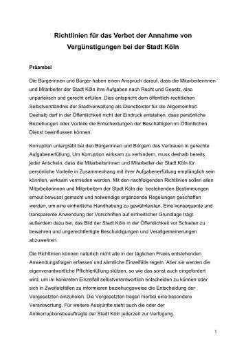Richtlinien für das Verbot der Annahme von ... - Stadt Köln