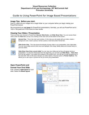 Guide to Using PowerPoint for Image Based Presentations