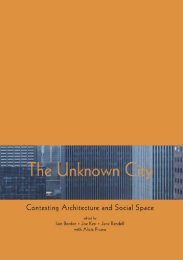 The Unknown City: Contesting Architecture and Social Space