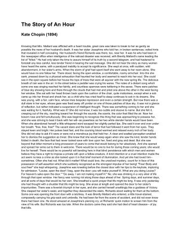 "exploring irony in the story of an hour"" by kate chopin the story of an hour kate chopin pdf"