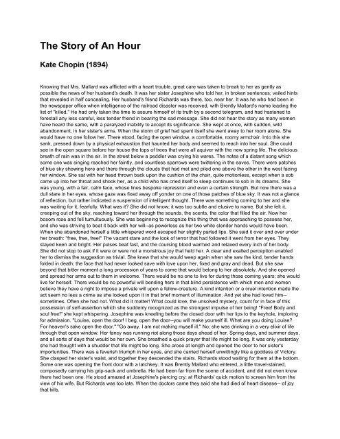 an hour by kate chopin