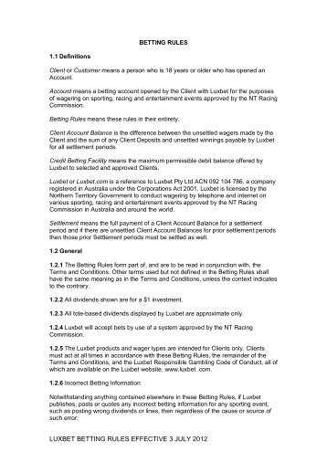 LUXBET BETTING RULES EFFECTIVE 3 JULY 2012