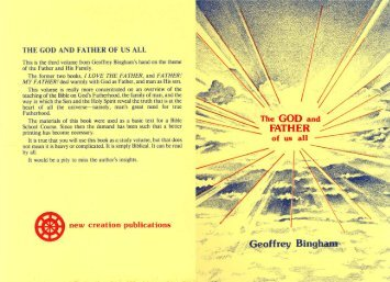 The God and Father of us all - New Creation Teaching Ministry