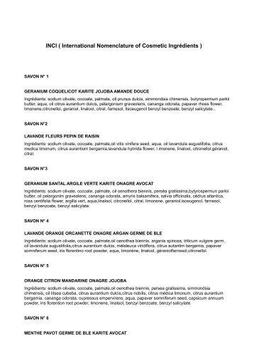 lNCl ( International Nomenclature of Cosmetic Ingrédients )