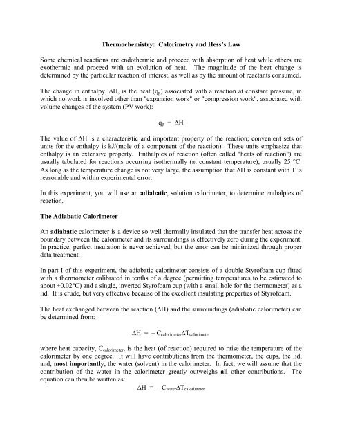 Thermochemistry Calorimetry And Hess S Law Some Chemical