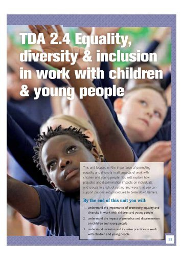 TDA 2.4 Equality, diversity & inclusion in work ... - Pearson Schools