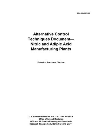 Alternative Control Techniques Document— Nitric And Adipic Acid