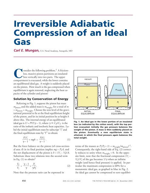 Irreversible Adiabatic Compression Of An Ideal Gas United States