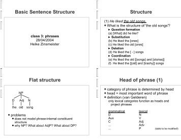 Basic Sentence Structure Structure Flat structure Head of phrase (1)