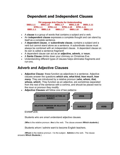 adjective clause and adverb clause