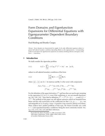 Form Domains and Eigenfunction Expansions for Differential ...