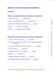 Subject pronouns and possessive adjectives. - Language worksheets