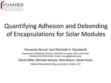 Quantifying Adhesion and Debonding of Encapsulants for ... - EERE