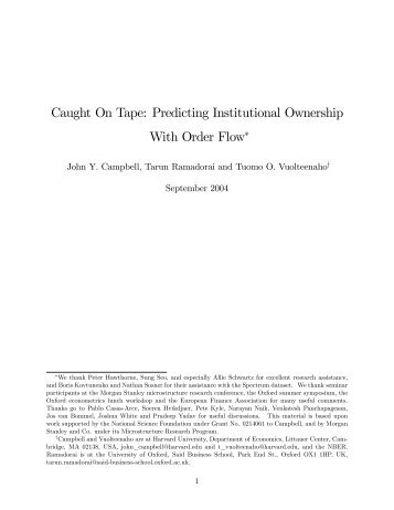 Caught On Tape: Predicting Institutional Ownership With Order Flow*