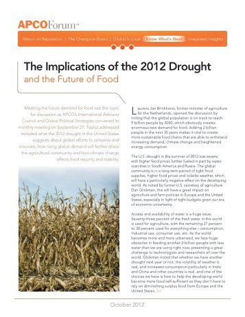The Implications of the 2012 Drought - APCO Worldwide