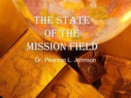 State of the Gospel - Missions Mandate