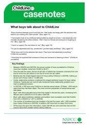 What boys talk about to ChildLine (ChildLine Casenotes) - nspcc