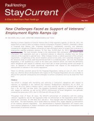 New Challenges Faced as Support of Veterans ... - Paul Hastings