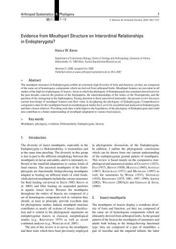 Evidence from Mouthpart Structure on Interordinal Relationships in ...