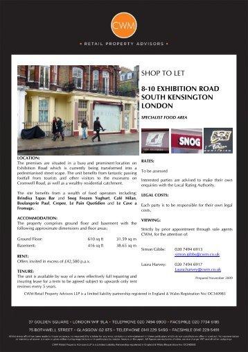 shop to let 8-10 exhibition road south kensington london