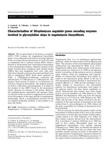 Characterization of Streptomyces nogalater genes ... - Helsinki.fi