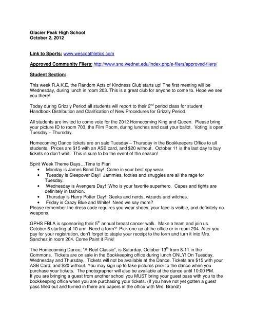 Glacier Peak High School October 2, 2012 Link to Sports: www