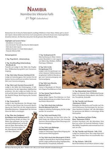 NAMIВIA Namibia bis Viktoria Falls 21 Tage - RB Reise Beratung AG