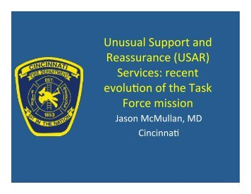 Unusual Support and Reassurance (USAR) Services: recent evolution
