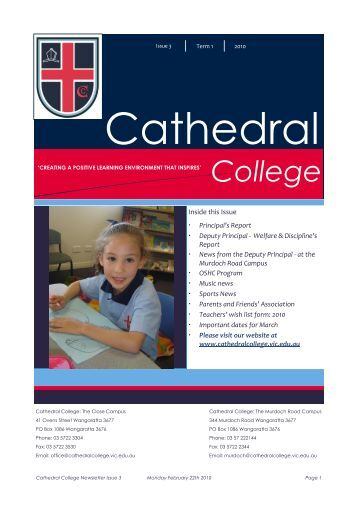 Draft Newsletter Issue 3 2010.pub - Cathedral College Wangaratta