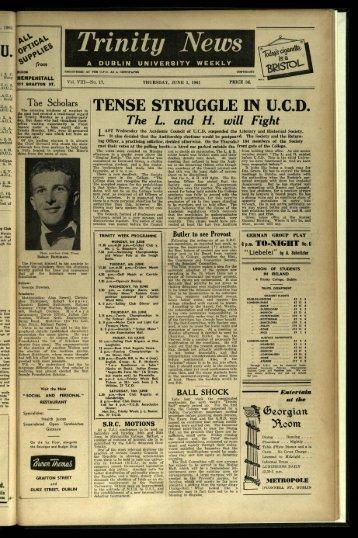 TENSE STRUGGLE IN U.C.D. - Trinity News Archive