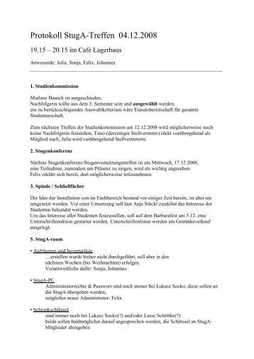 StugA Protokoll 4.Dez.2008 - StugA Geowissenschaften der ...