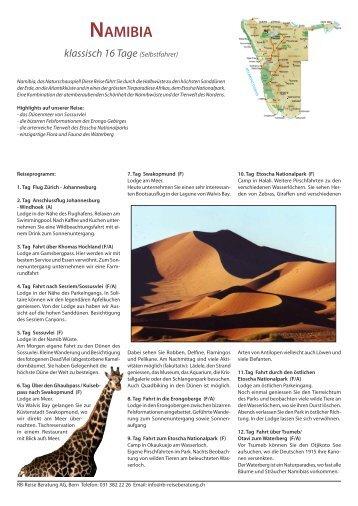 NAMIВIA klassisch 16 Tage (Selbstfahrer) - RB Reise Beratung AG